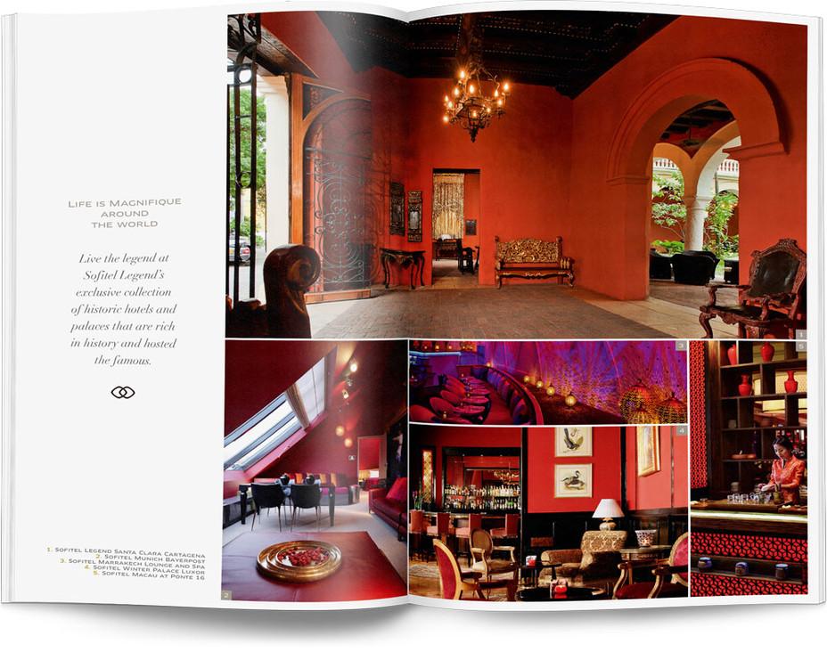 Direction artistique et mise en page d'une brochure de 64pages pour Sofitel, Groupe Accor / pp 36-37