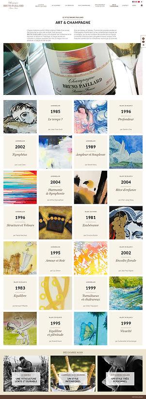 """Direction artistique et web-design de la page """"Art & Champagne"""" du site """"Champagne Bruno Paillard"""""""