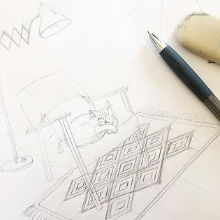 Croquis crayon / chat qui dort