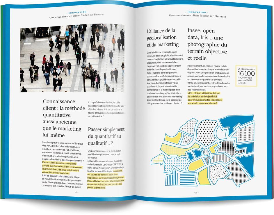 """Direction artistique, illustration et mise en page du """"Petit livre de la connaissance client par Néoprisme"""" pour le Groupe Cartégie / pp 14-15"""