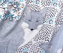 """Design Textile / Création de foulard de soie """"Le Renard d'Argent"""" pour """"Ania Axenova – Paris"""" / Renard aux yeux bleus"""