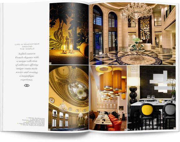 Direction artistique et mise en page d'une brochure de 64pages pour Sofitel, Groupe Accor / pp 26-27
