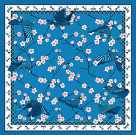 "Design Textile – Foulard de soie ""Bluebirds Party"" pour ""Ania Axenova – Paris"", version bleue"