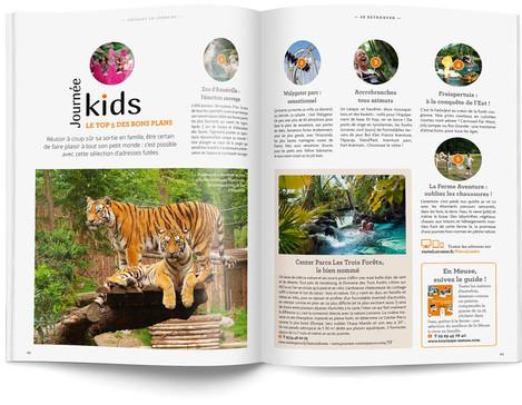 """Direction artistique et mise en page du magazine """"Voyages en Lorraine"""" 2015 / pp 42-43"""