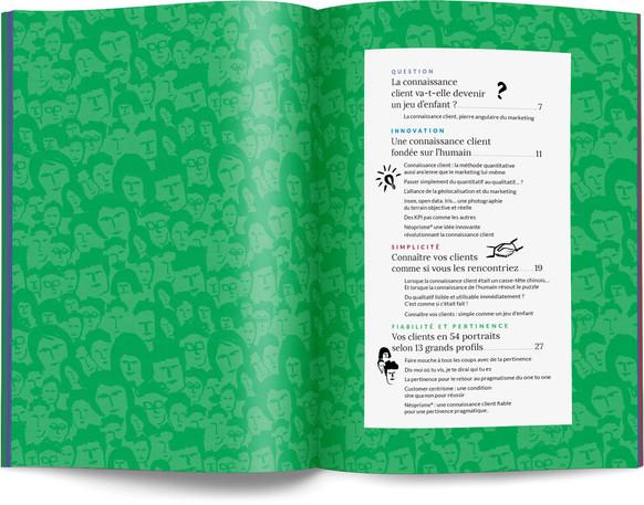 """Direction artistique, illustration et mise en page du """"Petit livre de la connaissance client par Néoprisme"""" pour le Groupe Cartégie / pp 4-5"""