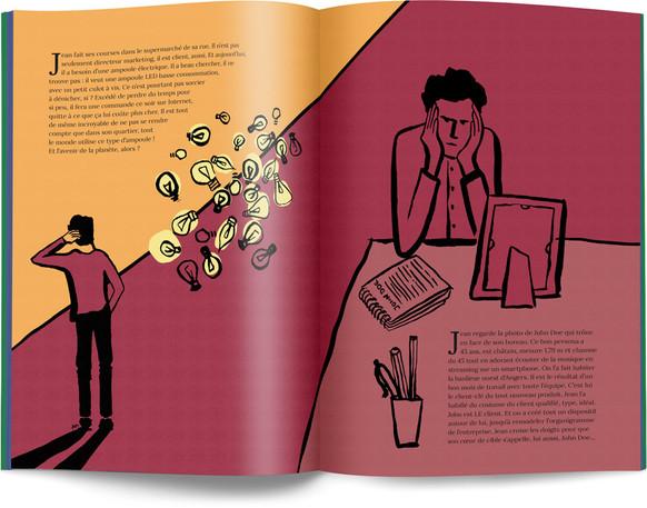 """Direction artistique, illustration et mise en page du """"Petit livre de la connaissance client par Néoprisme"""" pour le Groupe Cartégie / pp 24-25"""