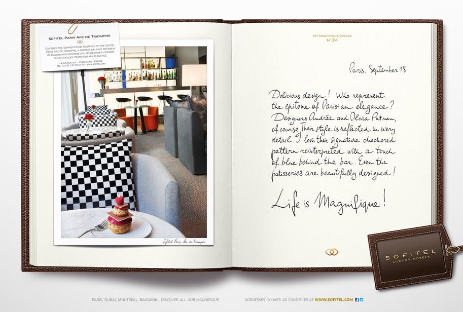 """Calligraphie pour la campagne publicitaire de Sofitel """"Carnet de voyages"""", Groupe Accor – Sofitel Paris Arc de Triomphe"""