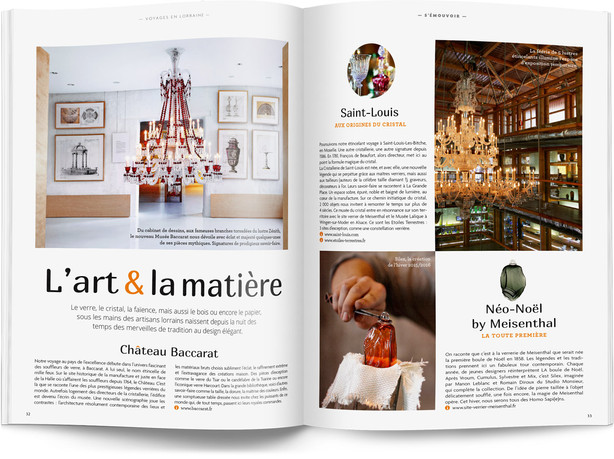 """Direction artistique et mise en page du magazine """"Voyages en Lorraine"""" 2016 / pp 32-33"""