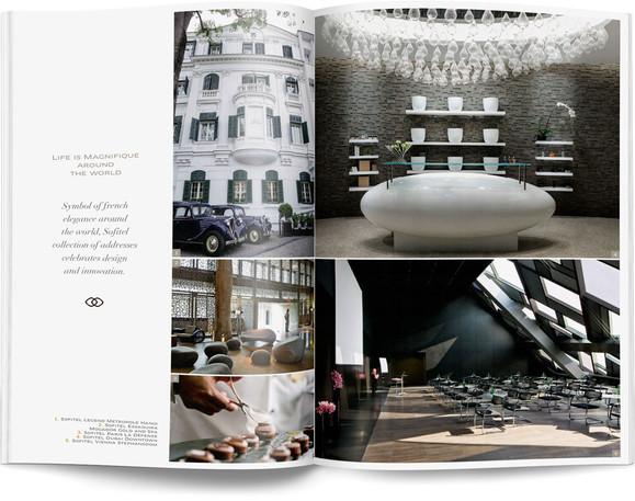 Direction artistique et mise en page d'une brochure de 64pages pour Sofitel, Groupe Accor / pp 54-55
