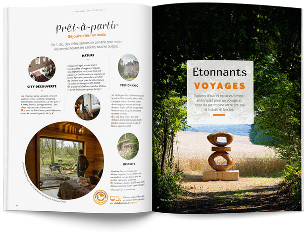 """Direction artistique et mise en page du magazine """"Voyages en Lorraine"""" 2015 / pp 20-21"""