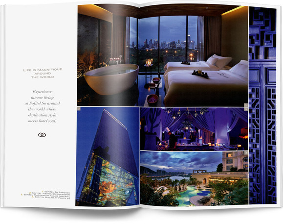 Direction artistique et mise en page d'une brochure de 64pages pour Sofitel, Groupe Accor / pp 4-5