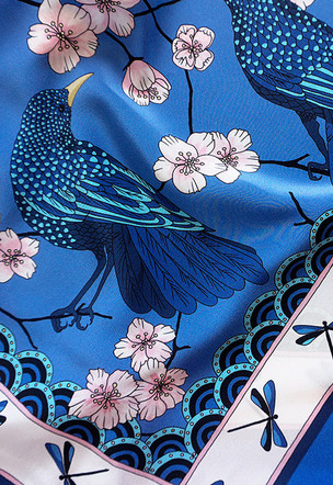 "Création de foulard ""Bluebird's party"""