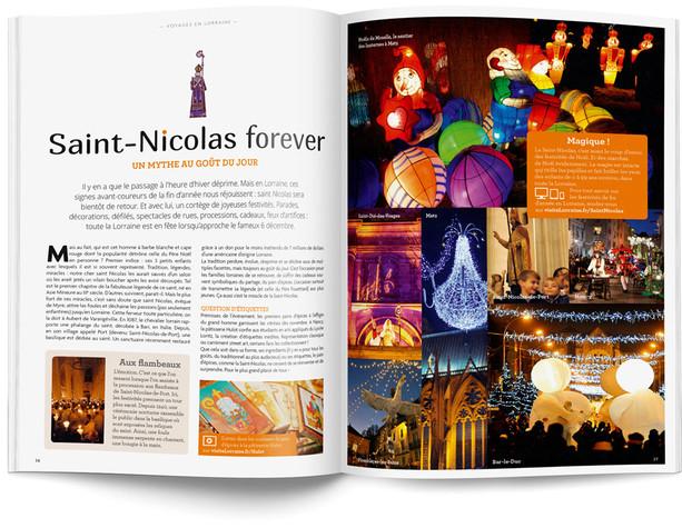"""Direction artistique et mise en page du magazine """"Voyages en Lorraine"""" 2015 / pp 36-37"""