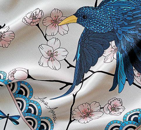 "Foulard de soie ""L'Oiseau Bleu"""