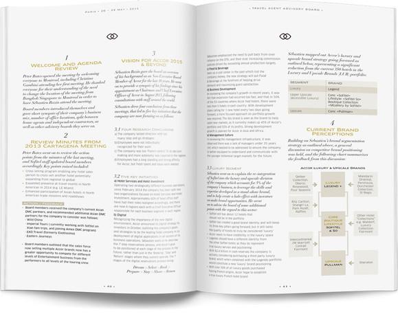 Direction artistique et mise en page d'une brochure de 64pages pour Sofitel, Groupe Accor / pp 40-41