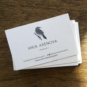 """Design du logo, de la charte graphique et du packaging pour """"Ania Axenova – Paris"""" / cartes de visites"""