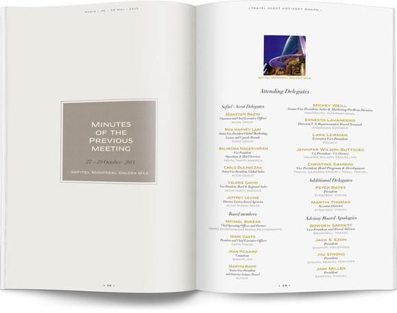 Direction artistique et mise en page d'une brochure de 64pages pour Sofitel, Groupe Accor / pp 38-39