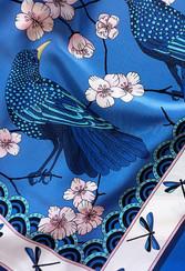 "Design Textile – Foulard de soie ""Bluebirds Party"" pour ""Ania Axenova – Paris"""