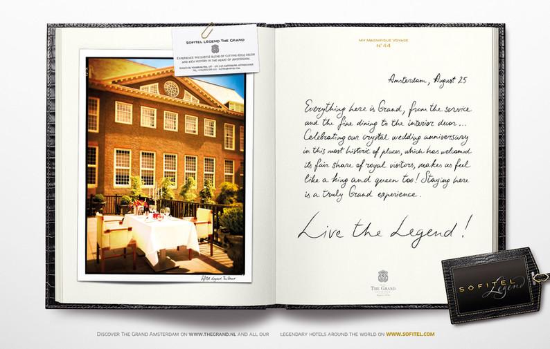 """Calligraphie pour la campagne publicitaire de Sofitel """"Carnet de voyages"""", Groupe Accor – Sofitel Legend Amsterdam"""