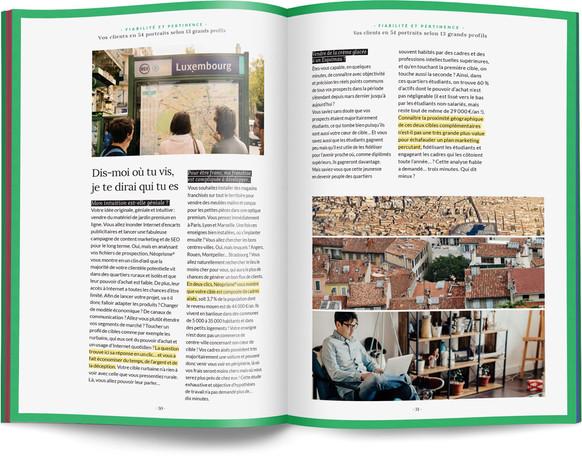 """Direction artistique, illustration et mise en page du """"Petit livre de la connaissance client par Néoprisme"""" pour le Groupe Cartégie / pp 30-31"""