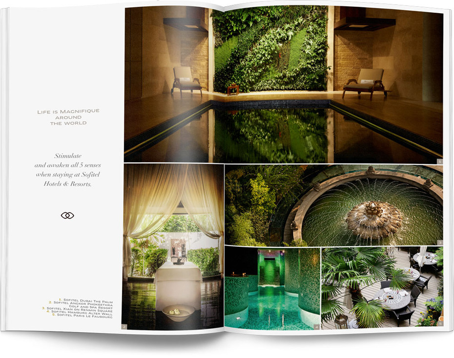 Direction artistique et mise en page d'une brochure de 64pages pour Sofitel, Groupe Accor / pp 16-17