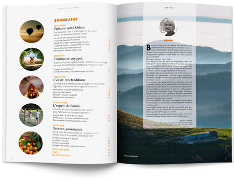 """Direction artistique et mise en page du magazine """"Voyages en Lorraine"""" 2015 / pp 2-3"""