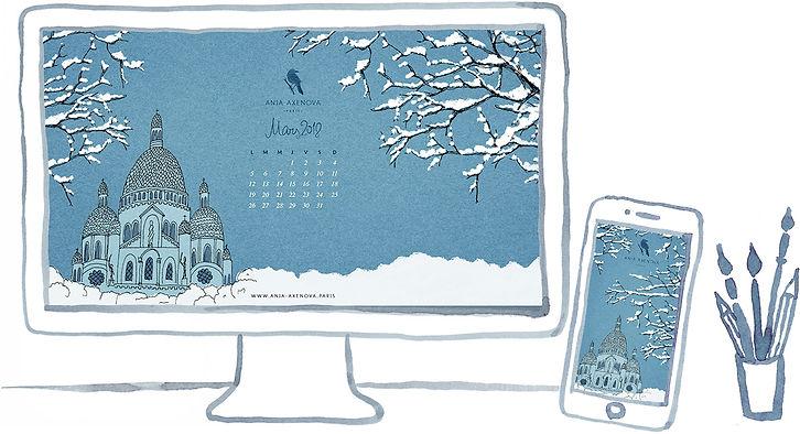 Paris, Montmartre, Sacré Coeur sous la neige / Illustration fond d'écran