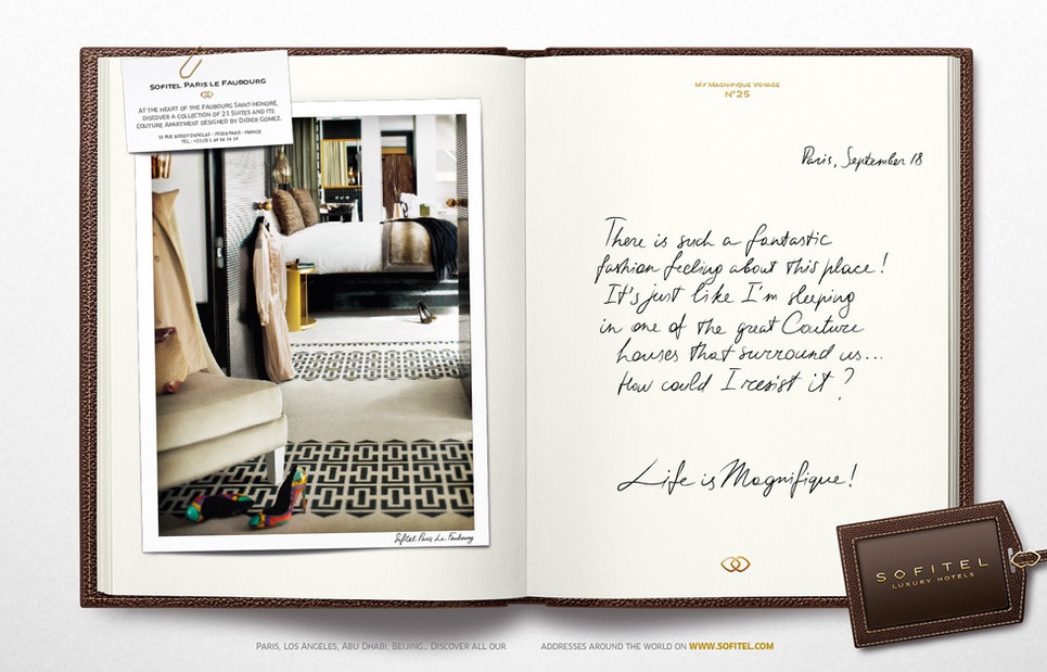 """Calligraphie pour la campagne publicitaire de Sofitel """"Carnet de voyages"""", Groupe Accor – Sofitel Paris Le Faubourg"""