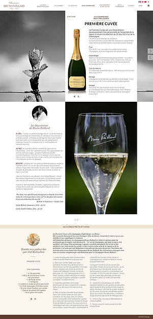 """Direction artistique et web-design de la page """"Premiere Cuvée"""" du site """"Champagne Bruno Paillard"""""""