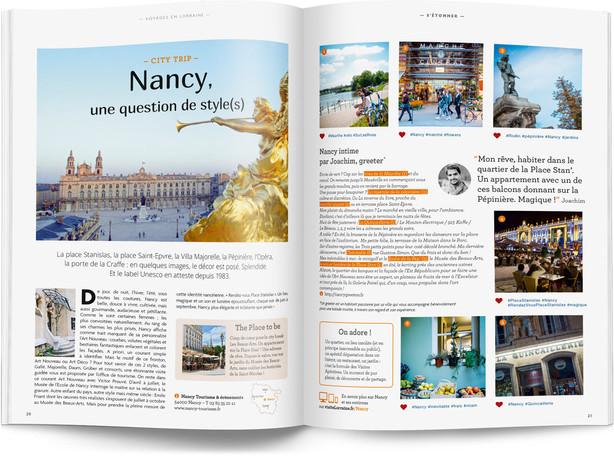 """Direction artistique et mise en page du magazine """"Voyages en Lorraine"""" 2016 / pp 20-21"""
