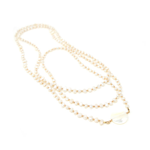 Freshwater pearl & seed bead long necklace
