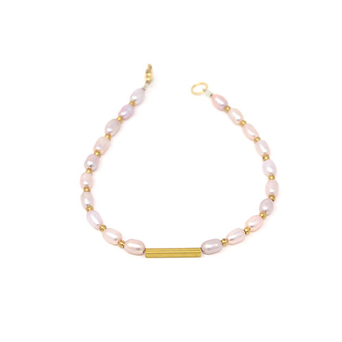 Pink Freshwater Pearls & Brass Bracelet