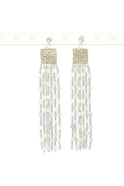 Aquamarine rainfall beaded drop earrings