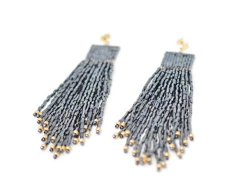 Metallic tassel earrings, 14k gold fill posts