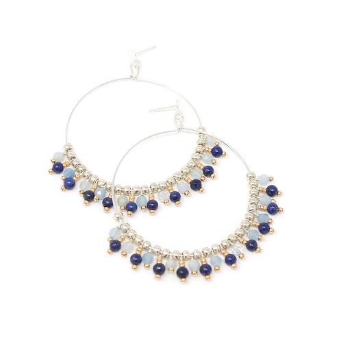 Sophia Hoops, sterling silver, lapis lazuli& aquamarine