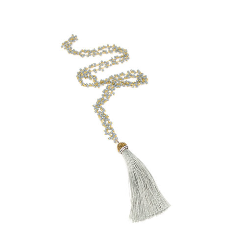 Grey chalcedony cluster & tassel necklace