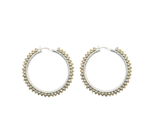 Theia sterling silver beaded hoops, 55mm