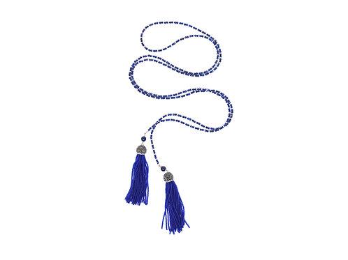 Lapis lazuli & beaded tassel lariat