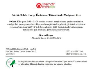 """Sürdürülebilir Enerji Üretimi ve Tüketiminde Medyanın Yeri Alternatif Enerji """"Yılın En""""leri Ödülleri"""