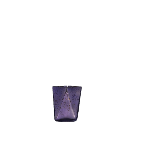 Wide Cut Geometric Long Triangular Purple Mercury Glass Votive Holder