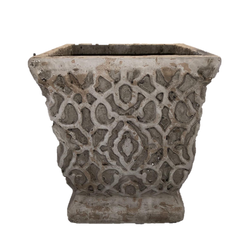 Heavy Stonelike Planter with Ornamental Raised Design