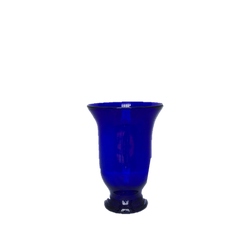 Cobalt Blue Glass Vase with Curved Top Flare