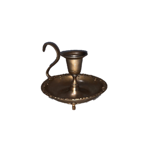 Gold Brass Taper Candle Holder with Handle