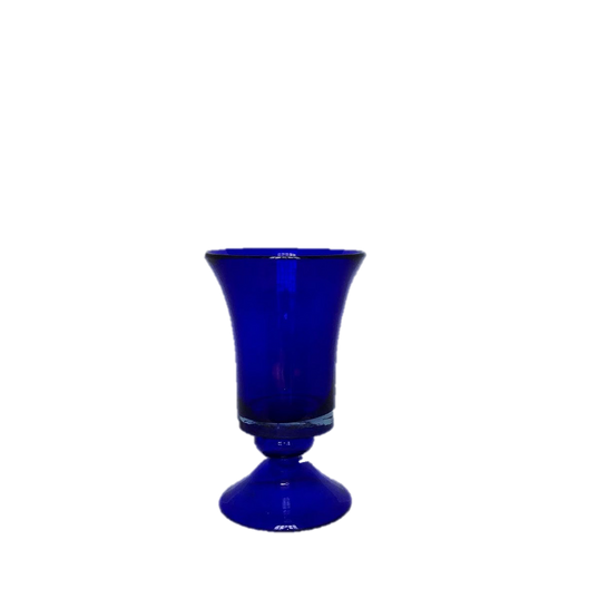 Cobalt Blue Glass Vase with Pedastal Base and Flare at Top