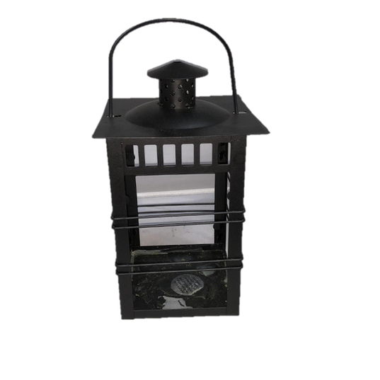 Black Metal Wrought Iron Looking Lantern with Glass Panels - Small