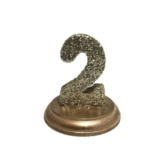 Gold Glitter Table Numbers on Round Gold Stands