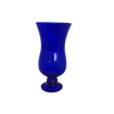 Cobalt Blue Glass Vase with Pedastal Base and Hurricane Type Swell - Smallest