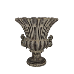 Ceramic Trophy Urn Planter with Pedestal and Patina
