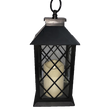 Black Resin Square Base Lantern with Built In LED Candle