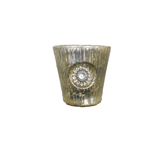 Silvery Gold Mercury Glass Votive With Mediallion